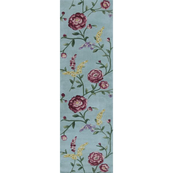 Yvonne Blue Floral Vines Area Rug by August Grove