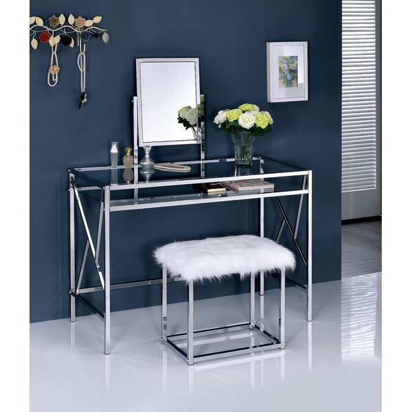 Enid Contemporary Vanity Set with Mirror by Everly Quinn