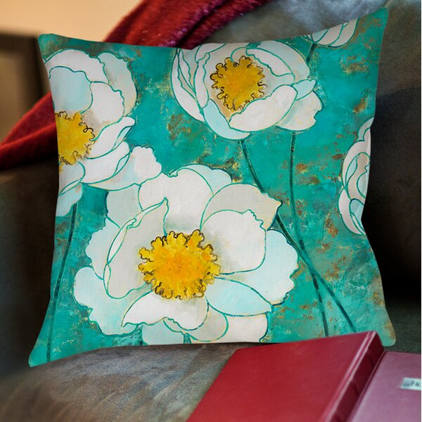 Flower Field Printed Throw Pillow by Manual Woodworkers & Weavers