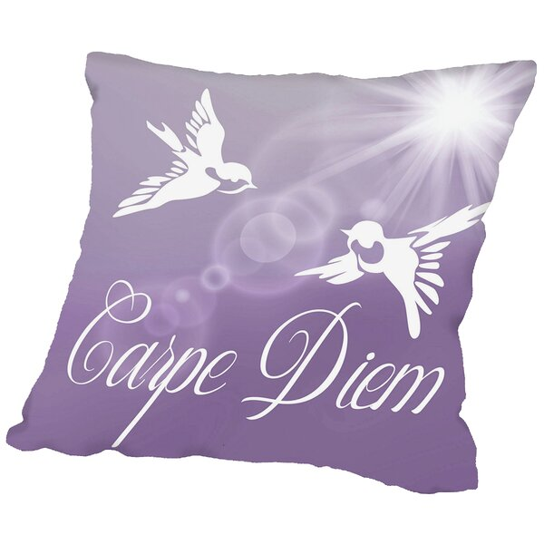 Carpe Diem Birds Throw Pillow by East Urban Home