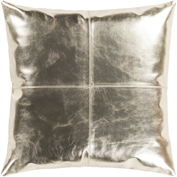 Ritz Champagne Hide Leather Throw Pillow by Surya