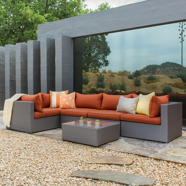 Jayne 6 Piece Sectional Rattan Seating Group Set with Cushions by Brayden Studio