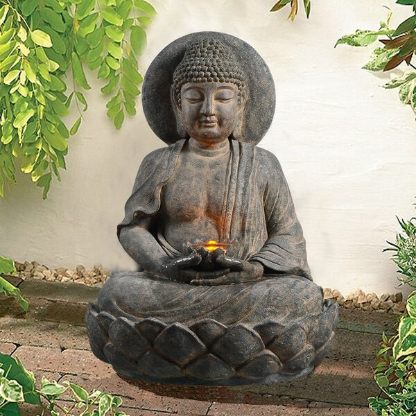 Outdoor Buddha Zen Fountain with LED Light by Peaktop
