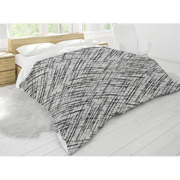 Reedley Watercolor Criss Cross B+W Single Comforter