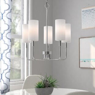 Compare prices Burger 5-Light Shaded Chandelier By Latitude Run
