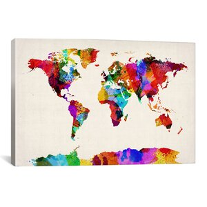 Michael Tompsett 'Map of The World (Abstract Painting) II' Graphic Art on Canvas by iCanvas