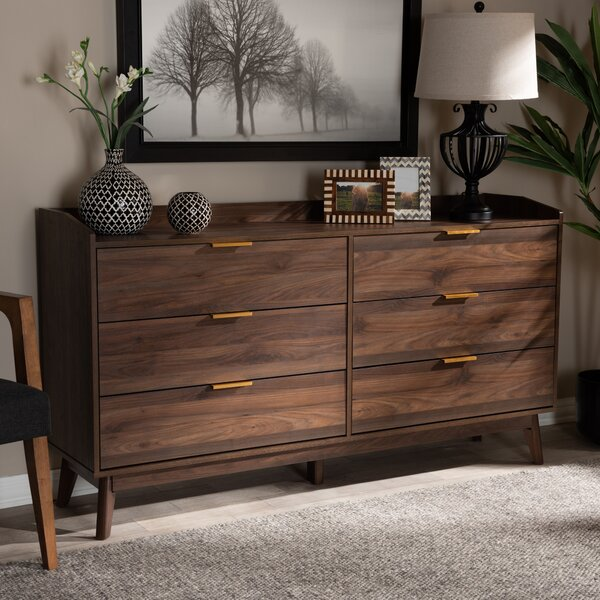 Kellner Mid-Century Modern Wood 6 Drawer Double Dresser by George Oliver