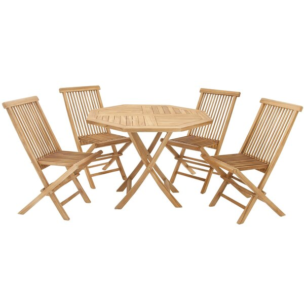Teak Wood Folding Chair 5 Piece Dining Set by Urban Designs