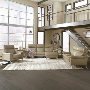 Zurcher Contemporary Upholstered 3 Piece Leather Living Room Set by Orren Ellis