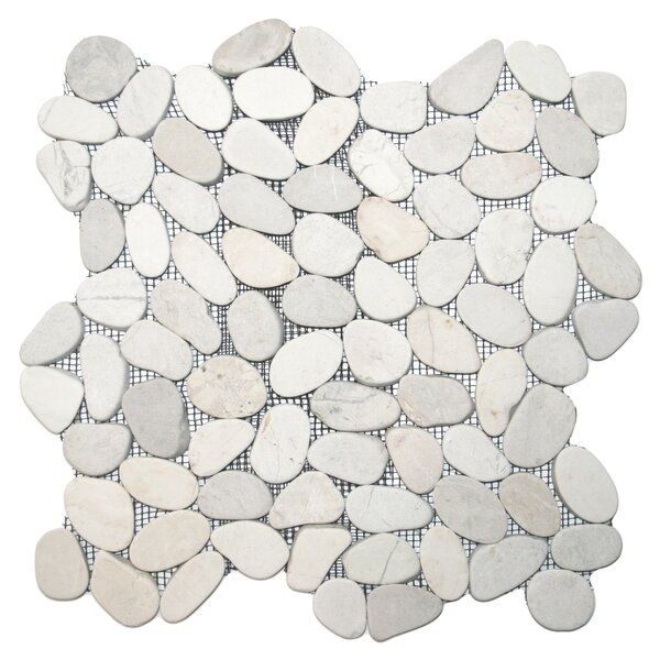 Rio Random Sized Natural Stone Mosaic Tile in White by CNK Tile