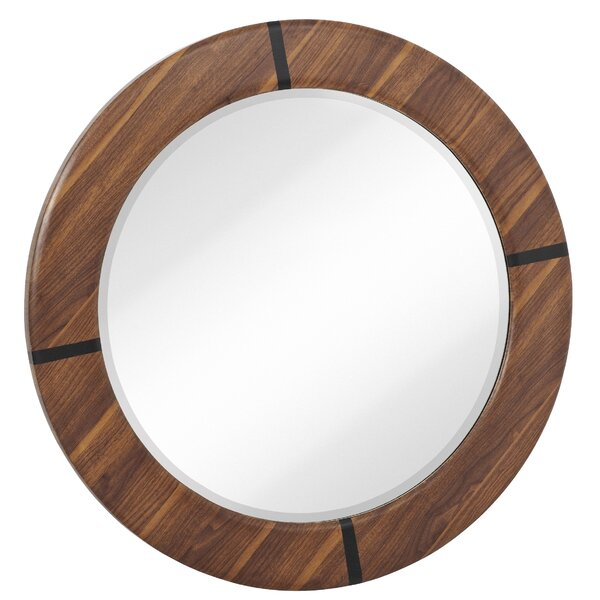 Round Modern Walnut Beveled Glass Framed Hanging Accent Wall Mirror by Majestic Mirror