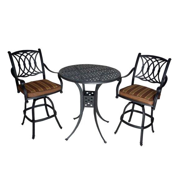 Islais 3 Piece Sunbrella Bar Height Dining Set with Cushions