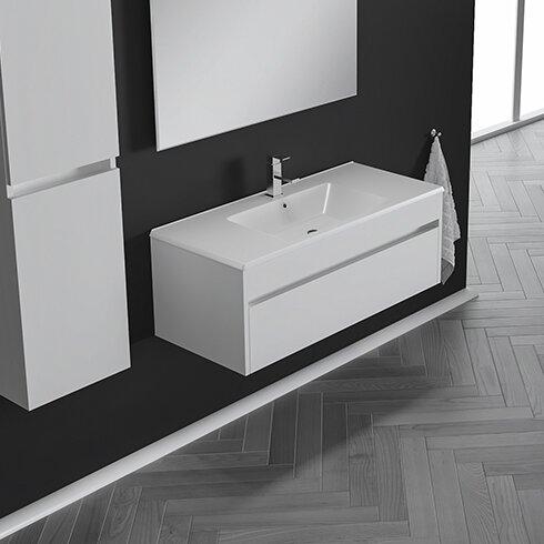 Nico 26 Wall-Mounted Single Bathroom Vanity Set with Mirror by Orren Ellis