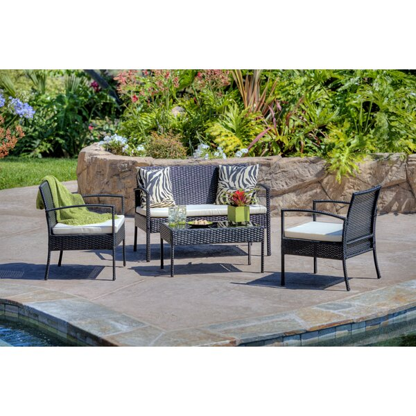 4 Piece Patio Sofa Set with Cushions by Best Desu, Inc.