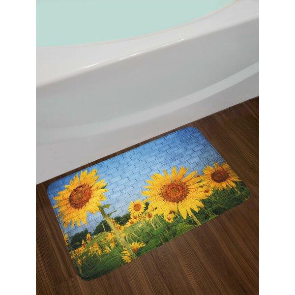 Brick Wall Sunflower Drawing Peaceful Bath Rug by East Urban Home