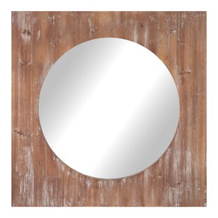 Union Rustic Towler Round Distressed Reclaimed Wood Accent Mirror