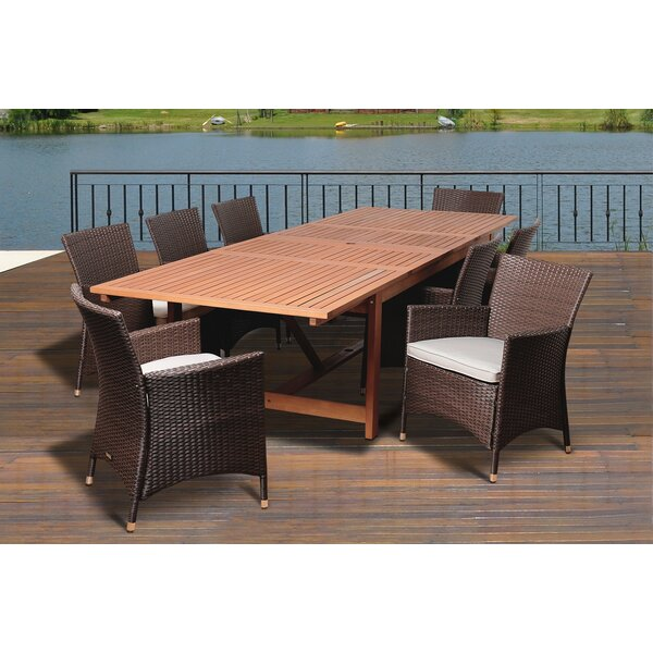 Coalson 9 Piece Eucalyptus Dining Set With Cushions by Rosecliff Heights