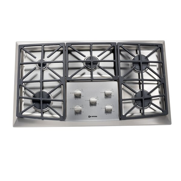36 Gas Cooktop with 5 Burners and Front Control by