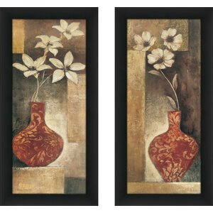'Baroque Floral I' 2 Piece Framed Print Set by Fleur De Lis Living