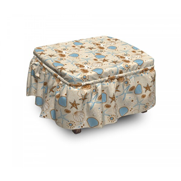 Deals Price Seashells Doodle Starfishes 2 Piece Box Cushion Ottoman Slipcover Set