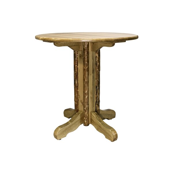 Tustin Center Pedestal Solid Wood Dining Table by Loon Peak