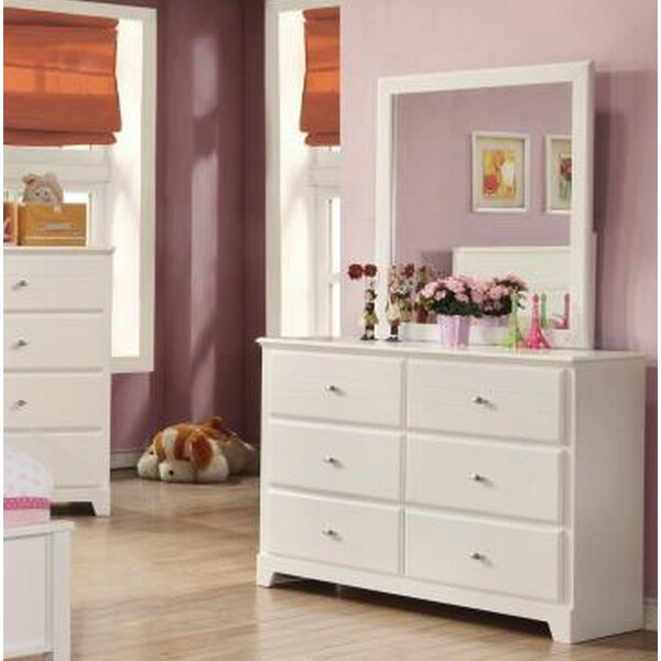 Sykes 6 Drawer Double Dresser with Mirror by Harriet Bee