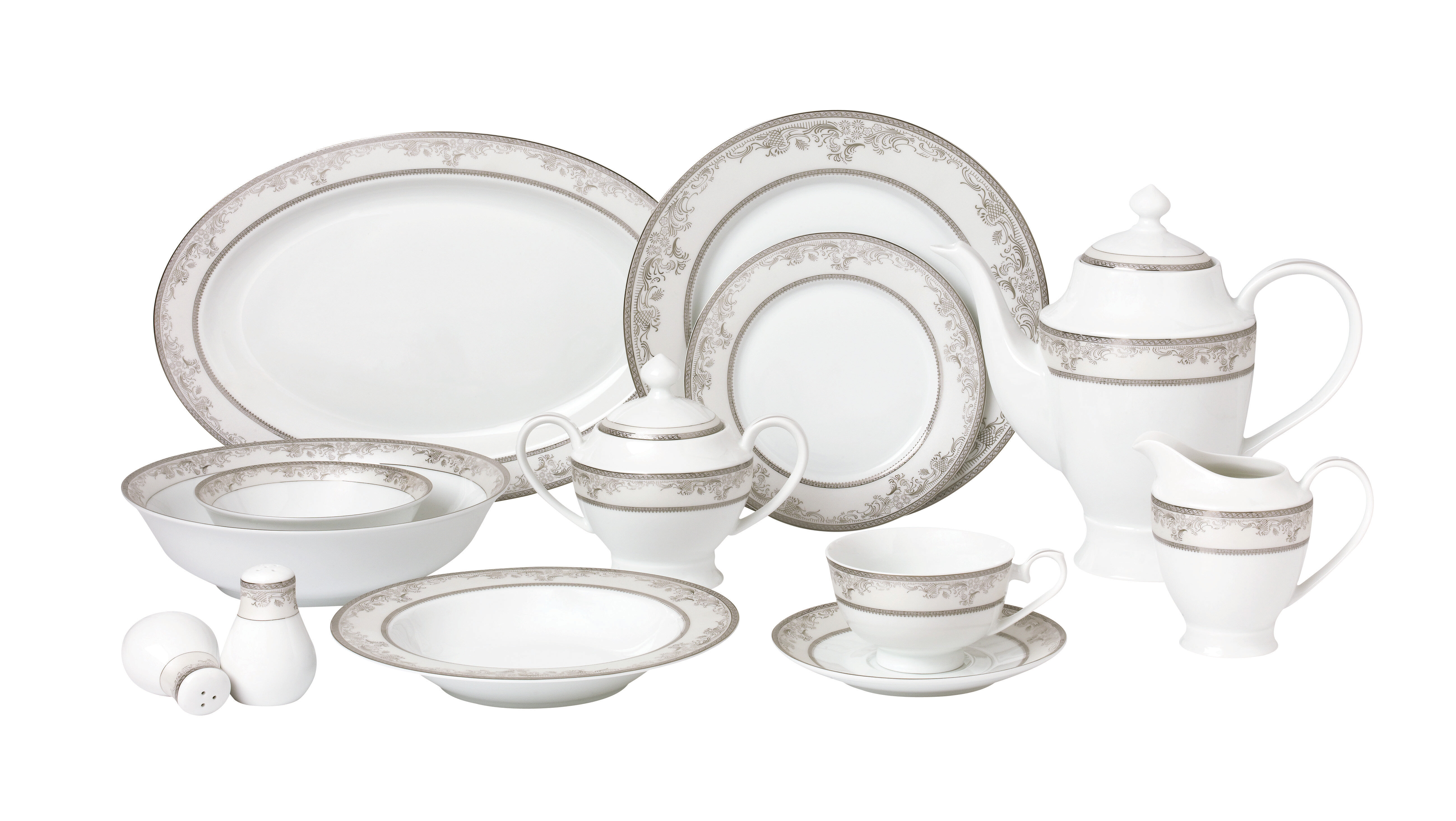 Lorren Home Trends La Luna Bone China 57 Piece Dinnerware Set Service for 8 u0026 Reviews | Wayfair  sc 1 st  Wayfair & Lorren Home Trends La Luna Bone China 57 Piece Dinnerware Set ...