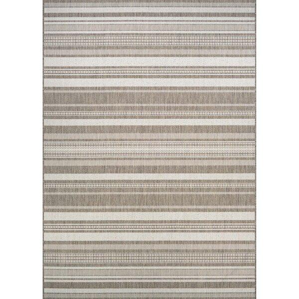 Anguila Stripe Gray/Beige Indoor/Outdoor Area Rug by Beachcrest Home