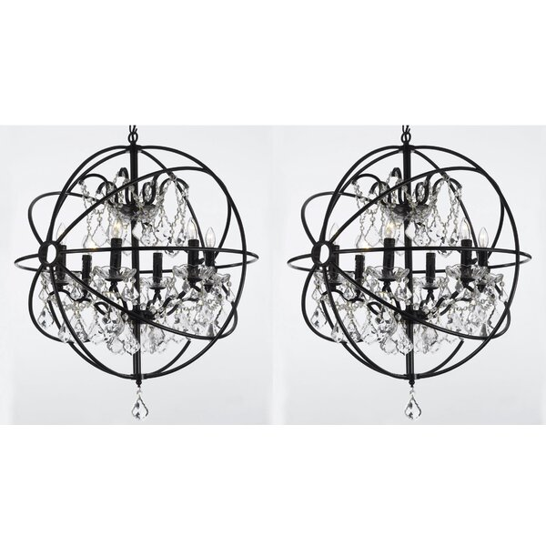 Aguiar 6 - Light Candle Style Globe Chandelier with Crystal Accents (Set of 2) by Rosdorf Park Rosdorf Park