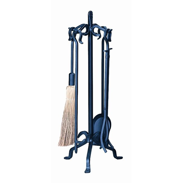 4 Piece Wrought Iron Fireplace Tool Set With Stand by Uniflame Corporation