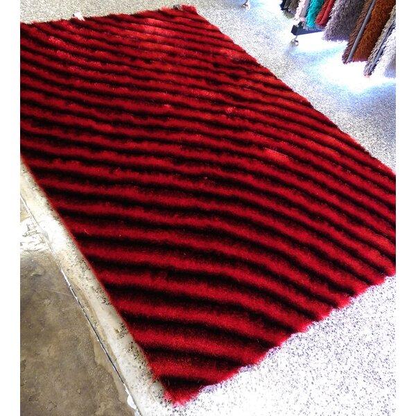Hallum Shaggy Hand-Tufted Red Area Rug by Orren Ellis