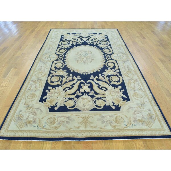 One-of-a-Kind Besser Plush Hand-Knotted Blue Wool Area Rug by Isabelline