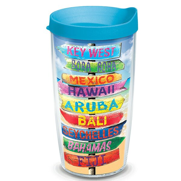 Sun and Surf Tropical Destination Signs Plastic Travel Tumbler by Tervis Tumbler