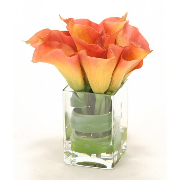 Waterlook Calla Lilies with Tocca Orchid Leaf in Square Vase by Distinctive Designs