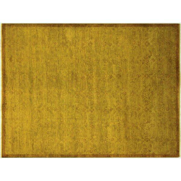 Badillo Hand-Knotted Wool Gold Area Rug by Bloomsbury Market