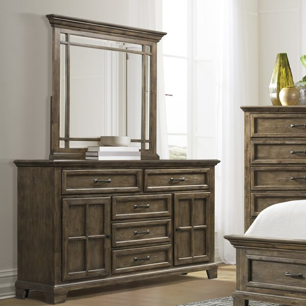 Charleston 5 Drawer Combo Dresser with Mirror by Gracie Oaks