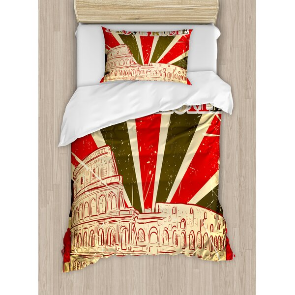 Quote I Love Rome Lettering with Circus Tent and Bold Stripes Ancient Duvet Set by East Urban Home