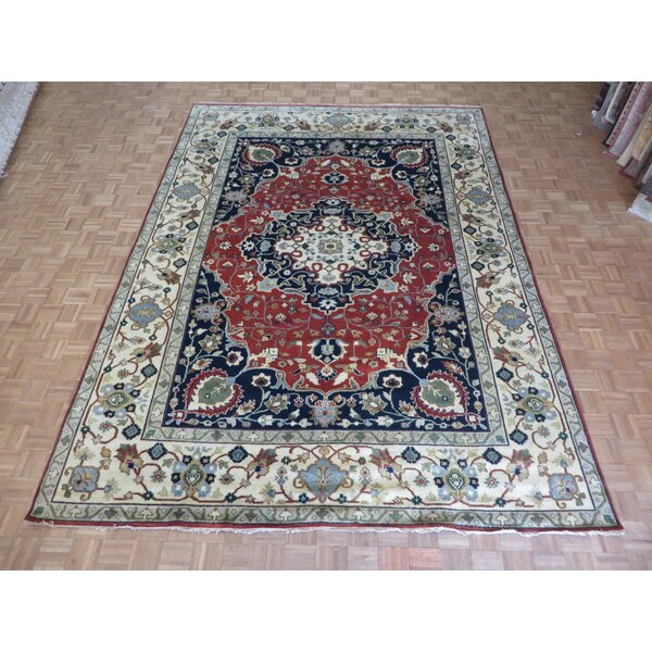 One-of-a-Kind Padro Serapi Heriz Hand-Knotted Wool Rust Red Area Rug by Bloomsbury Market