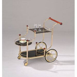 Lacy Golden Plated and Black Glass Serving Bar Cart by ACME Furniture