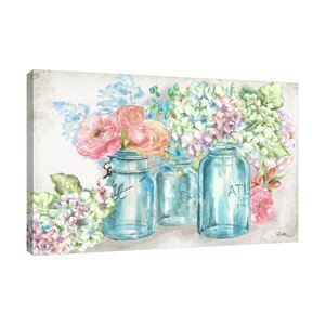 'Colorful Flowers In Mason Jars' Print on Wrapped Canvas by Ophelia & Co.