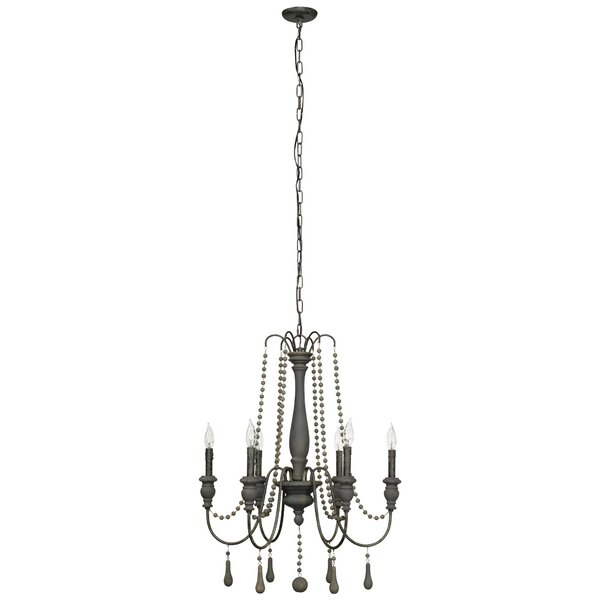Elissa 6 - Light Candle Style Classic / Traditional Chandelier With Beaded Accents By Lark Manor