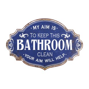 Vintage Metal Bathroom Wall Sign With Distressed Finish Décor