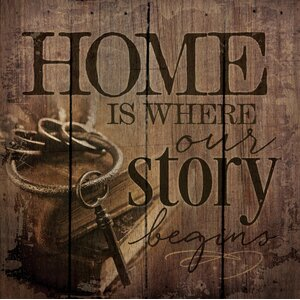 'Home is Where Our Story Begins' by Tonya Gunn Textual Art on Plaque by Artistic Reflections