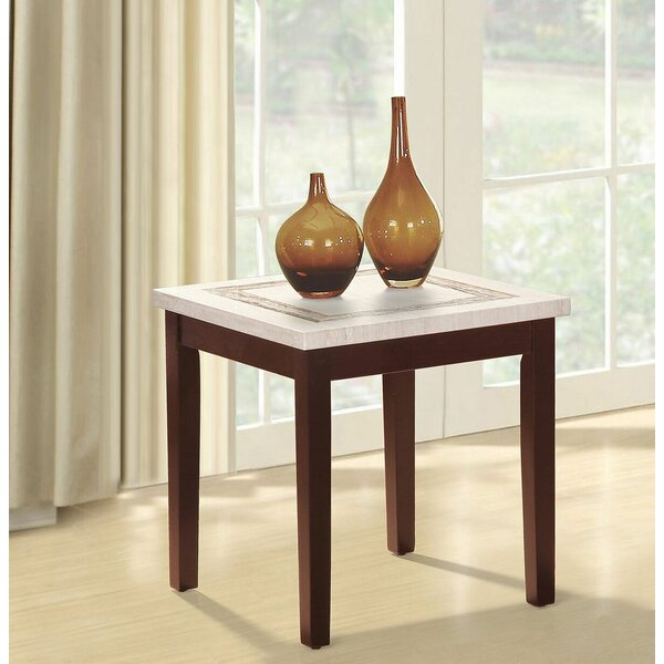 Mccune Faux Marbelized Granite End Table by Red Barrel Studio