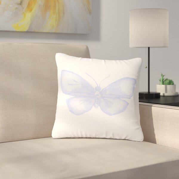 Jennifer Rizzo Lavender Butterfly Outdoor Throw Pillow by East Urban Home