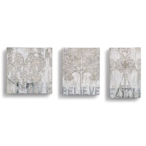 'Love Believe Faith' 3 Piece Graphic Art on Wrapped Canvas by DEMDACO
