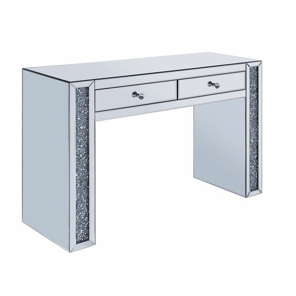 Alarcon Faux Crystal Accented Wood Vanity with Mirror by Everly Quinn