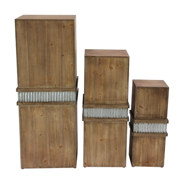 Biali 3 Piece Rustic Square Pedestal Plant Stand Set by Foundry Select