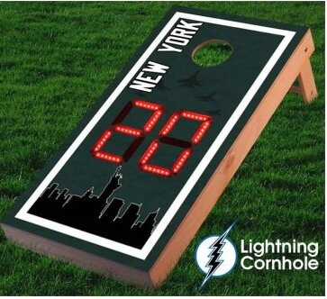 Electronic Scoring New York Skyline Cornhole Board by Lightning Cornhole