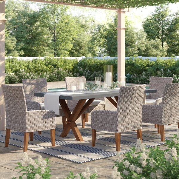 McNab 7 Piece Teak Dining Set with Sunbrella Cushions by Greyleigh